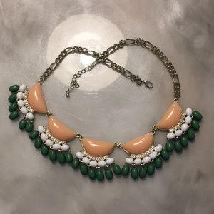 Peach and green statement necklace